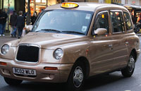 Gold Bomber taxi in London